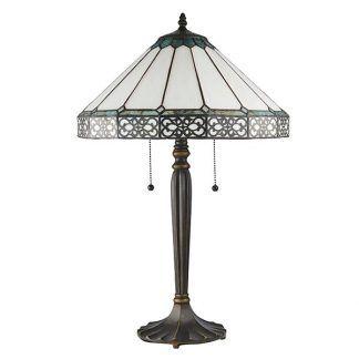 lampa stołowa do salonu witrażowy jasny klosz