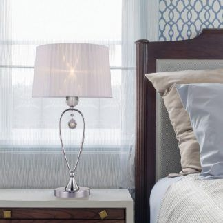 lampa stołowa glamour z białym abażurem sypialnia