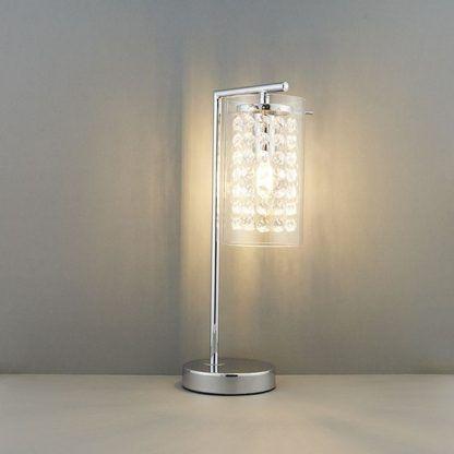 lampa stołowa glamour z kryształkami do salonu