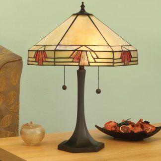 Lampa stołowa jasny klosz z czerwonymi elementami