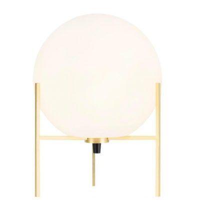 Lampa stołowa kula w złotej oprawie do salonu