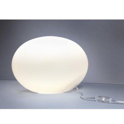 lampa stołowa mleczna kula do salonu szklana