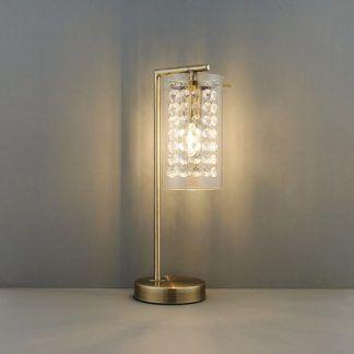 lampa stołowa mosiężna z kryształkami do salonu