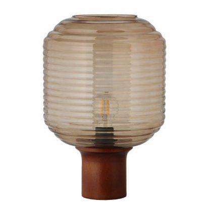 lampa stołowa na drewnianej podstawie