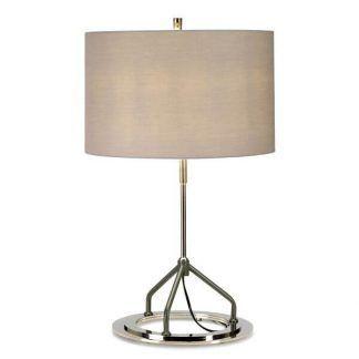 Lampa stołowa na okrągłej srebrnej podstawie z abażurem