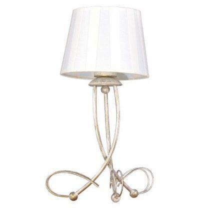 lampa stołowa na wygiętych drutach - biały abazur