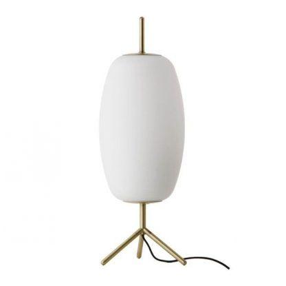 lampa stołowa na złotym trójnogu białe szkło