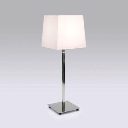 lampa stołowa połysk chrom biały abażur