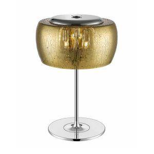 lampa stołowa szklana złota na srebrnej podstawie