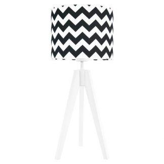 Lampa stołowa trójnóg z abażurem w biało czarne zygzaki