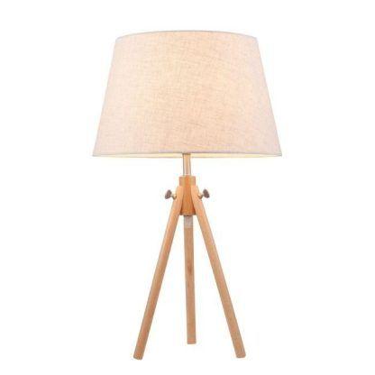lampa stołowa trójnóg z beżowym kloszem