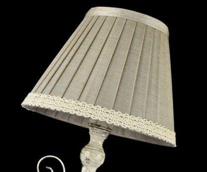 lampa stołowa vintage plisowany abażur z koronką