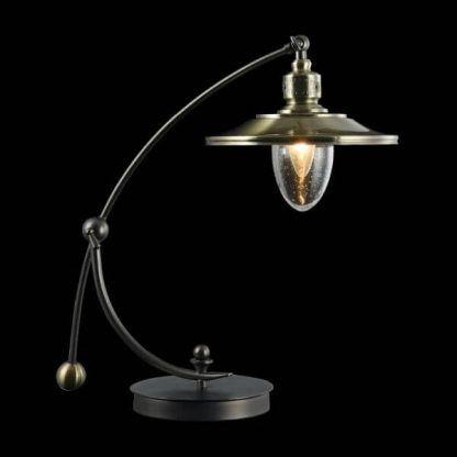 lampa stołowa vintage ze złotym kloszem