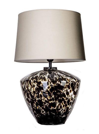 lampa stołowa w cętki z abażurem - ceramiczna