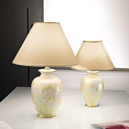 lampa stołowa w kwiaty ceramiczna podstawa