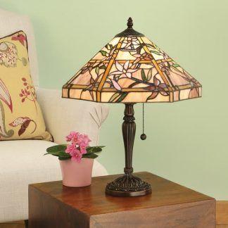 lampa stołowa w kwiaty witrażowe szkło zielony salon
