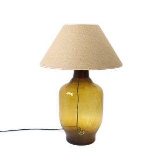 lampa stołowa w miodowym kolorze z abażurem z tkaniny