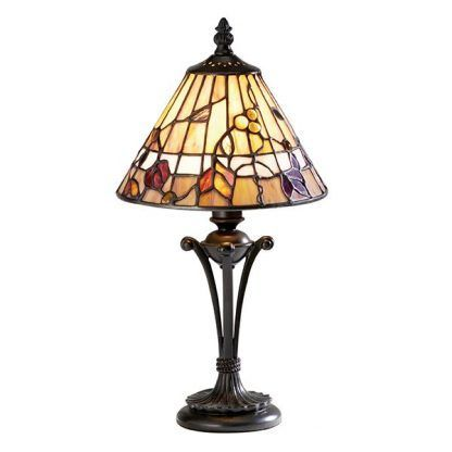 lampa stołowa witrażowa ciepłe odcienie kwiaty