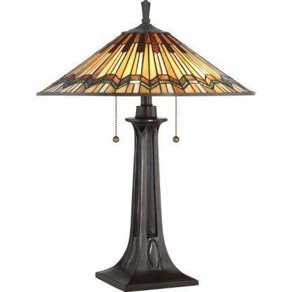 lampa stołowa witrażowa z włącznikiem sznurkowym