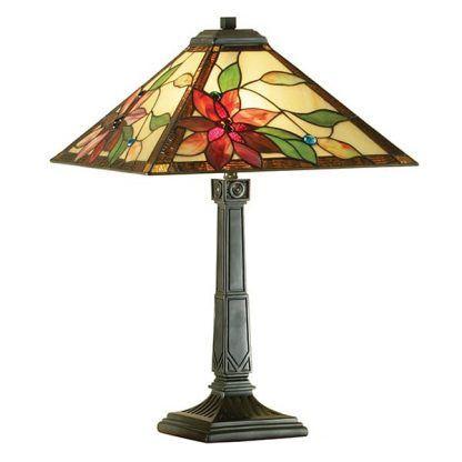 lampa stołowa witrażowy klosz czerwony kwiat