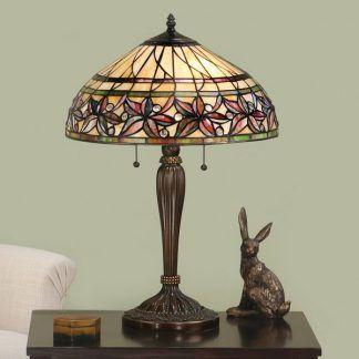 lampa stołowa witrażowy klosz do salonu klasyczna