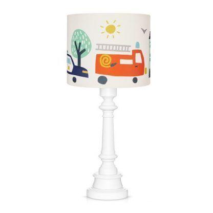 Lampa stołowa z abażurem w wozy strażackie
