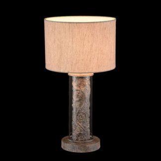 lampa stołowa z beżowym abażurem klasyka