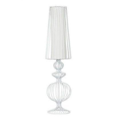 lampa stołowa z białych prętów nowoczesna