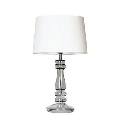 lampa stołowa z białym abazurem i szklaną przezroczysta podstawą
