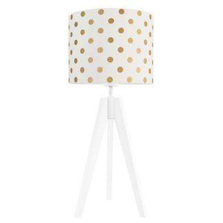 Lampa stołowa z białym abażurem w złote grochy