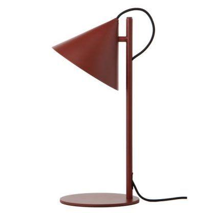 lampa stołowa z bordowym kloszem nowoczesna