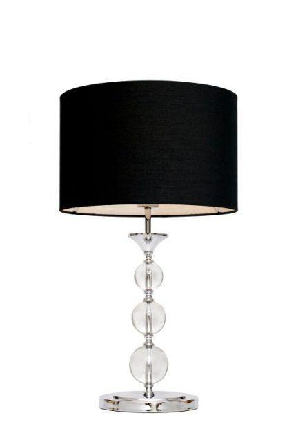 lampa stołowa z czarnym abażurem i szklanymi kulami w podstawie
