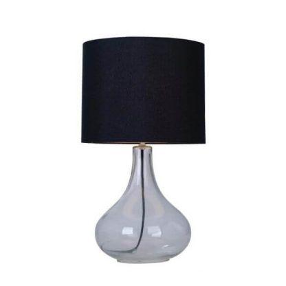 lampa stołowa z czarnym abażurem szklana