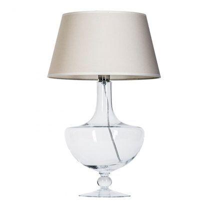 lampa stołowa z dmuchanego szkła - beżowy abażur