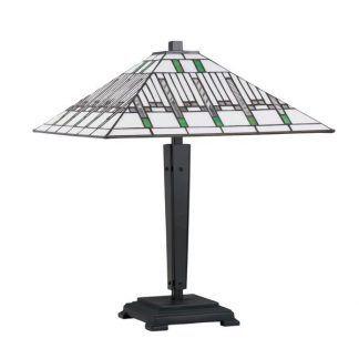 Lampa stołowa z jasnym kloszem stożkowym w paski