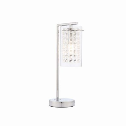 lampa stołowa z kryształkami na srebrnej podstawie