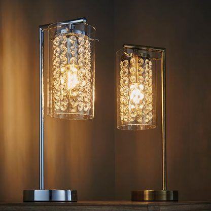 lampa stołowa z kryształkami na szafkę do salonu