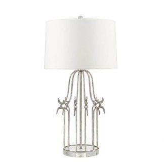 Lampa stołowa z okrągłą metalową podstawą do salonu