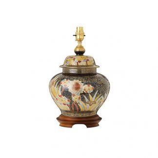 lampa stołowa z porcelany drewniana podstawa