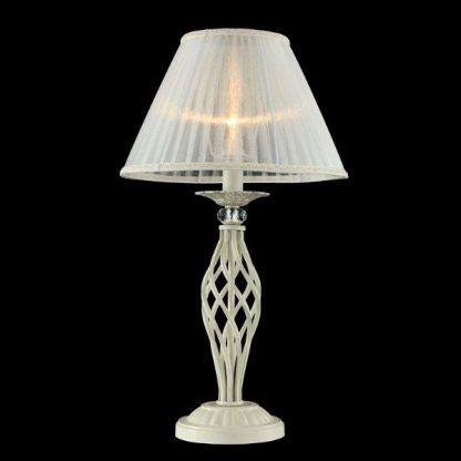 lampa stołowa z prześwitującym abażurem i widoczną żarówką