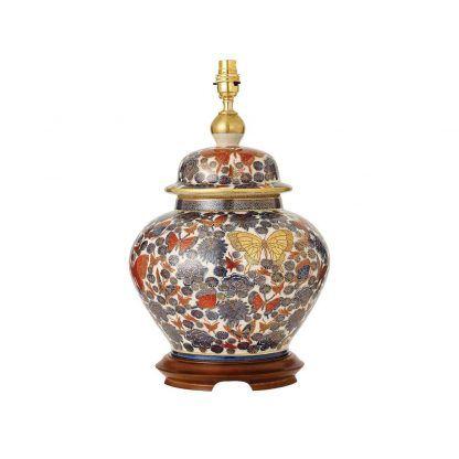 lampa stołowa z szeroką ceramiczną podstawą
