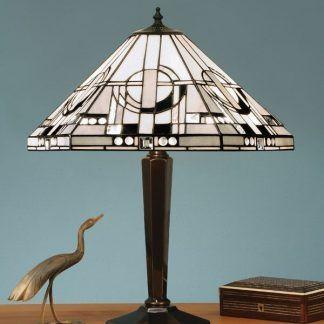 lampa stołowa z witrażowym kloszem niebieskie tło