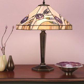 lampa stołowa z witrażowym kloszem w kwiaty salon