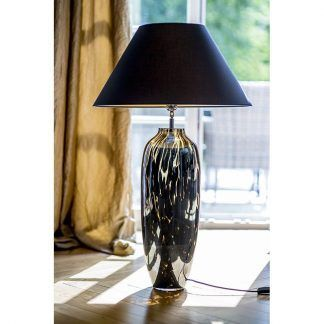 lampa stołowa ze szkła czarny stożkowy abażur