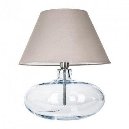 lampa stołowa ze szkła - okragła z abażurem beżowym