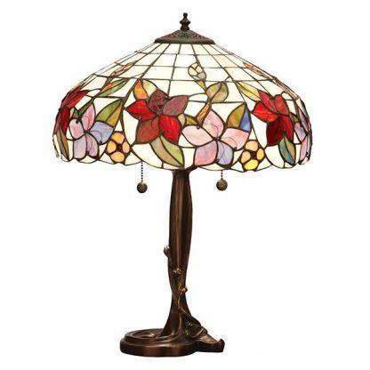 lampa stołowa ze szkła tiffany motyw kwiatów