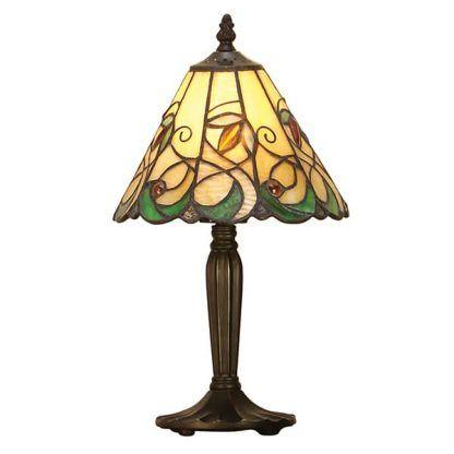 lampa stołowa ze szkła witrażowego brązowa nóżka