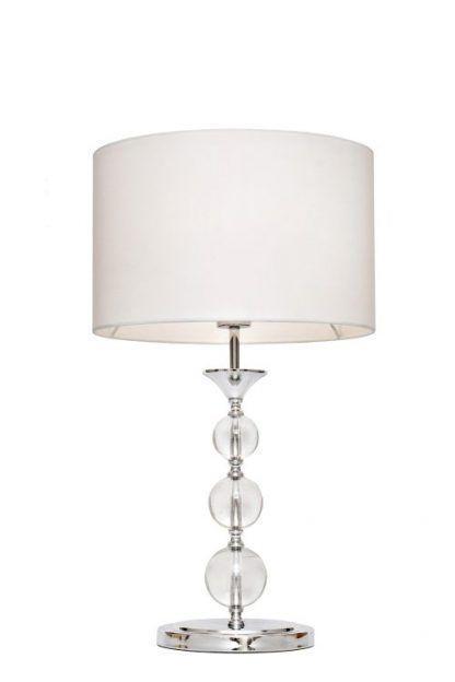 lampa stołowa ze szklaną podstawa - kule z abażurem