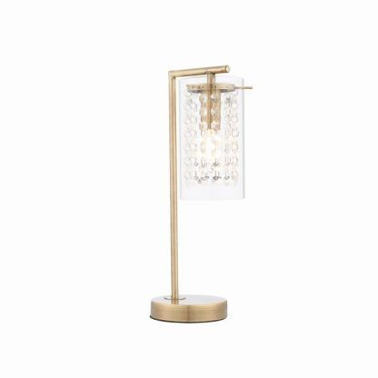 lampa stołowa złota z kryształkami na komodę