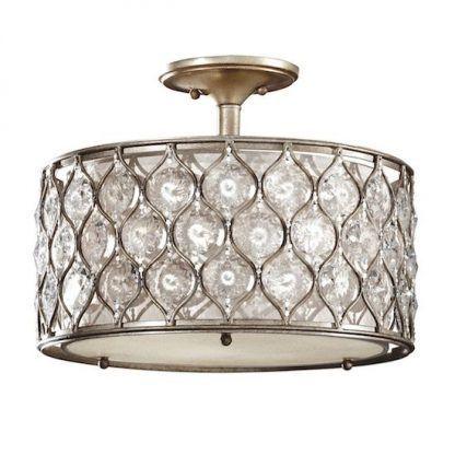 lampa sufitowa art deco - kryształy w brązie